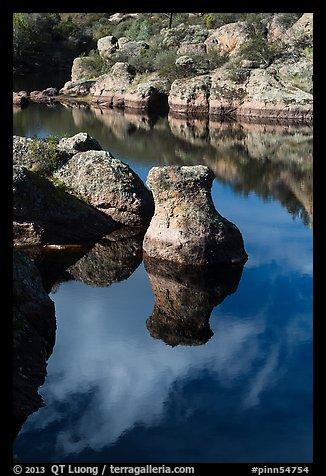 Rocks and reflections, Bear Gulch Reservoir. Pinnacles National Park (color)