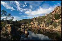 Clouds over Bear Gulch Reservoir. Pinnacles National Park, California, USA. (color)