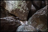 Jumble of rocks in talus cave. Pinnacles National Park, California, USA.