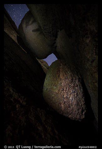 Talus cave with boulders at night. Pinnacles National Park (color)