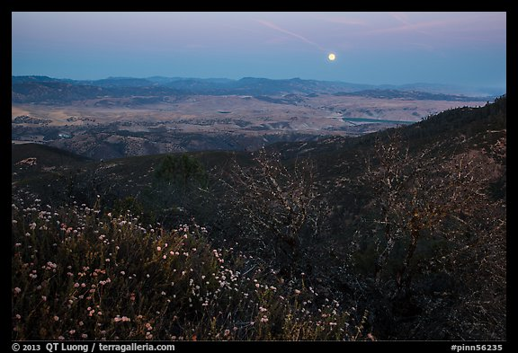 Moonrise from North Chalone Peak. Pinnacles National Park (color)