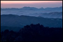 High Peaks and Gabilan Mountains ridges at sunset. Pinnacles National Park ( color)