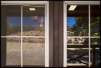 Chaparal hills, East entrance visitor center window reflexion. Pinnacles National Park ( color)