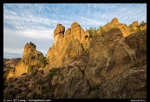 Rock towers above Juniper Canyon, late afternoon. Pinnacles National Park (color)