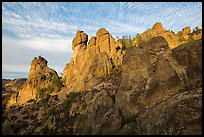 Rock towers above Juniper Canyon, late afternoon. Pinnacles National Park ( color)