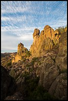 Rock towers and cirrocumulus clouds. Pinnacles National Park ( color)