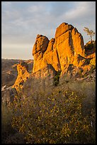 Shrubs and rock towers, autumn sunset. Pinnacles National Park ( color)