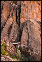 Footbridge at Tunnel exit dwarfed by rock towers. Pinnacles National Park ( color)