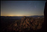 Square Block group of pinnacles at night. Pinnacles National Park ( color)