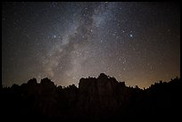 High Peaks pinnacles and Milky Way. Pinnacles National Park ( color)