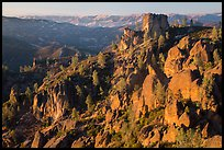 Pinnacles and Square Block Rock at sunset. Pinnacles National Park ( color)