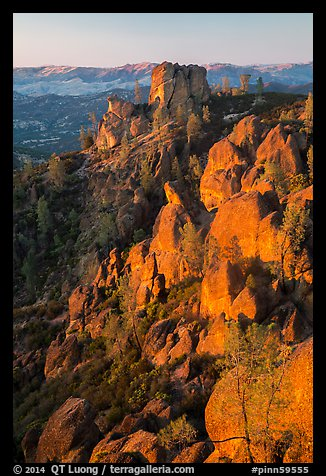 Last light on Pinnacles and Square Block Rock. Pinnacles National Park (color)