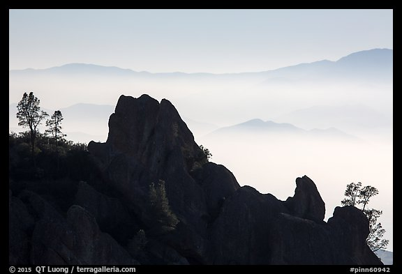 Silhouetted pinnacles and trees, foggy mountains. Pinnacles National Park (color)