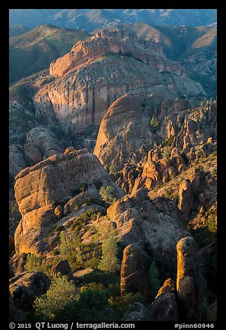 Rock spires, Machete Ridge, and Balconies in late afternoon. Pinnacles National Park (color)