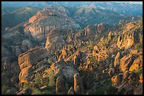 Innumerable rock spires and cliffs seen at sunset. Pinnacles National Park ( color)
