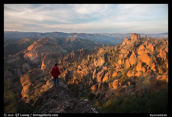 Visitor looking, Balconies and Square Block at sunset. Pinnacles National Park (color)