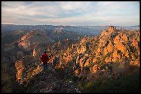 Visitor looking, Balconies and Square Block at sunset. Pinnacles National Park ( color)