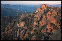 Rock spires at dusk. Pinnacles National Park ( color)