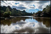 Bear Gulch Reservoir overflowing. Pinnacles National Park ( color)