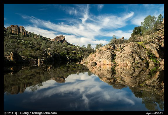 Bear Gulch Reservoir morning reflection. Pinnacles National Park (color)