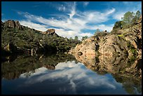 Bear Gulch Reservoir morning reflection. Pinnacles National Park ( color)