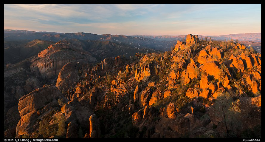 Balconies cliffs and rock pinnacles at sunset. Pinnacles National Park (color)