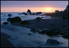 Stream and beach at sunset, False Klamath Cove. Redwood National Park, California, USA. (color)