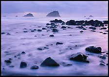 Wave motion over rocks in  purple light of dusk, False Klamath Cove. Redwood National Park, California, USA.