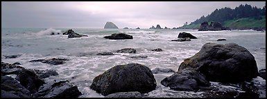Misty seascape with boulders. Redwood National Park (Panoramic color)