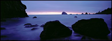 Boulders and seastacks and dusk. Redwood National Park (Panoramic color)