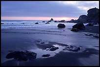Stream, beach, and ocean at sunset, False Klamath cove. Redwood National Park, California, USA. (color)