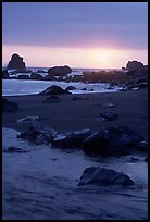 Stream on beach at sunset, False Klamath cove. Redwood National Park, California, USA. (color)