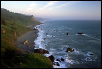 Coast from High Bluff overlook, sunset. Redwood National Park, California, USA.