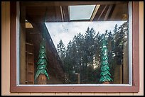 Redwood forest, Hiouchi Information center window reflexion. Redwood National Park ( color)