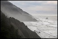 Hills plunge into ocean near Enderts Beach. Redwood National Park ( color)