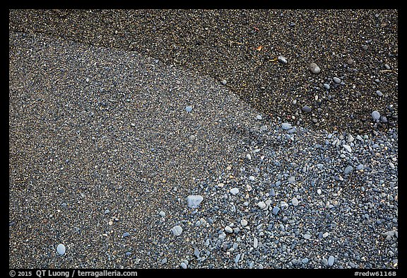 Close-up of sand and pebbles, Enderts Beach. Redwood National Park (color)