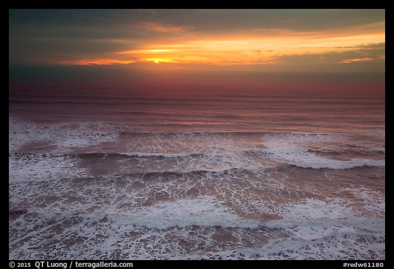 Elevated view of waves and sunset. Redwood National Park (color)