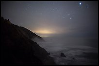 Coastal hills above Enderts Beach at night. Redwood National Park, California, USA.