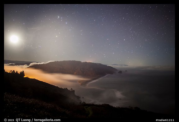 Mouth of Klamath River and moon at night. Redwood National Park (color)