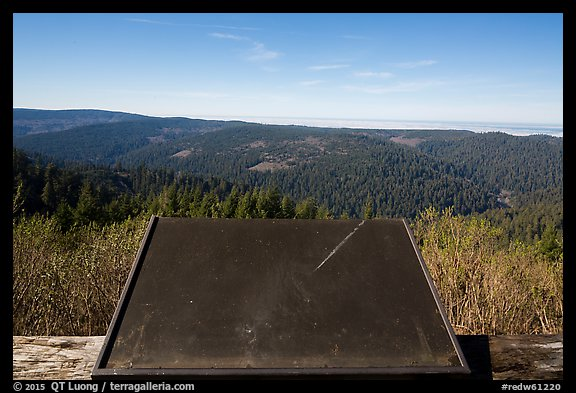 Holder for interpretive sign, Redwood Creek Overlook. Redwood National Park (color)