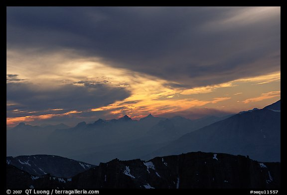 Clouds and mountain range at sunset. Sequoia National Park (color)