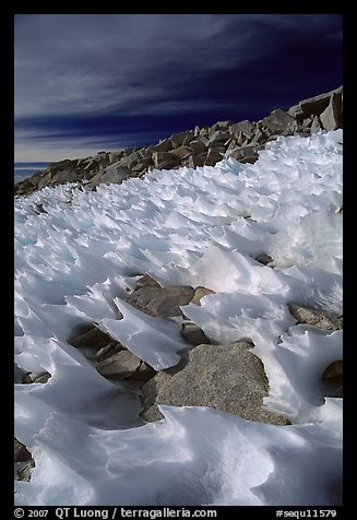 Wind-blown snow near  summit of Mt Whitney. Sequoia National Park (color)