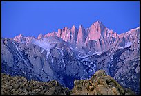 Alabama hills and Mt Whitney, dawn. Sequoia National Park, California, USA. (color)