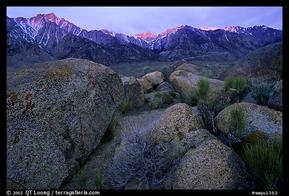 Volcanic boulders in Alabama hills and Sierras, sunrise. Sequoia National Park, California, USA.