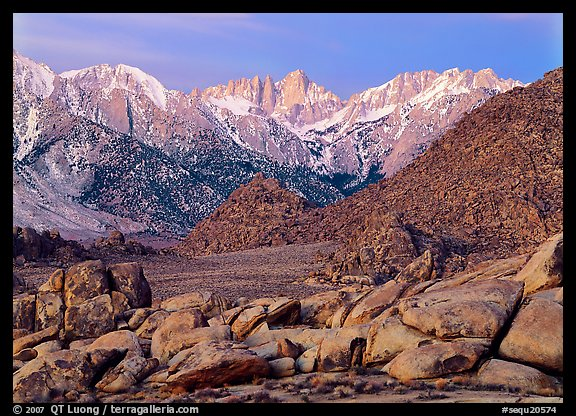 Volcanic boulders in Alabama hills and Mt Whitney, dawn. Sequoia National Park (color)