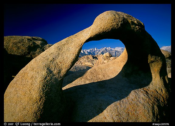 Alabama Hills Arch II and Sierra Nevada, early morning. Sequoia National Park (color)