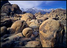 Boulders in Alabama Hills, Lone Pine Peark, and Mt Whitney. Sequoia National Park, California, USA. (color)