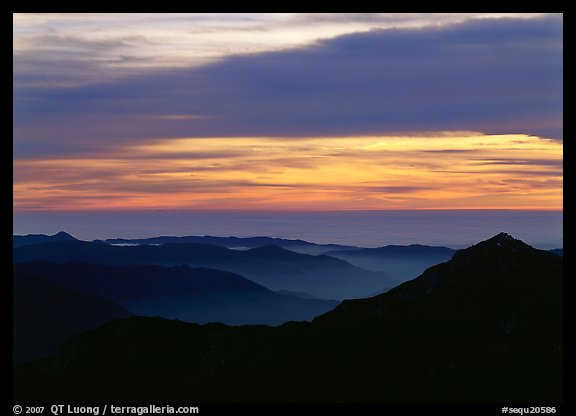 Ridges and sea of clouds at sunset. Sequoia National Park (color)