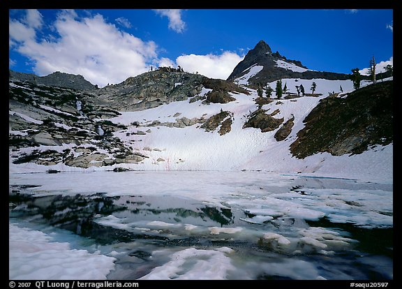 Monarch lake half-frozen in early summer. Sequoia National Park (color)