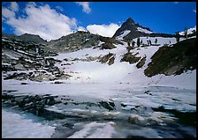Monarch lake half-frozen in early summer. Sequoia National Park ( color)